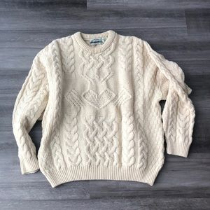 Aran crafts Ireland Cable-Knit Sweater XL Ivory